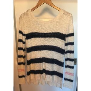 Navy and Cream Knit Sweater